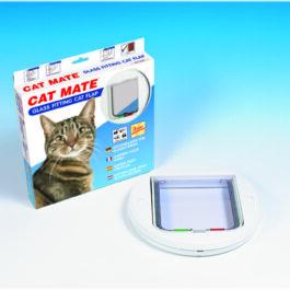 Cat mate kattenluikje vestelbaar 4 weg glazen deur
