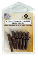 B-Carp Safety Lead Clips 6 pcs – 32 mm – Brown