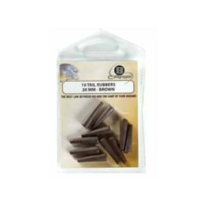 B-Carp Tail Rubber 10 pcs – 20 mm – Brown