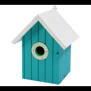 Vogelnestkastje wit dak lichtblauw