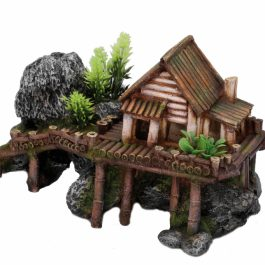 Wooden house with plants