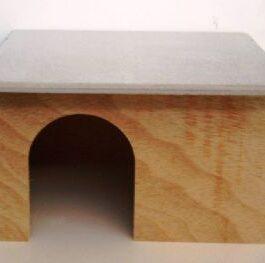 Konijneslaaphok hout grijs dak