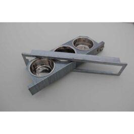Draaibare voederbakjes (3 bakjes 13 cm) inox