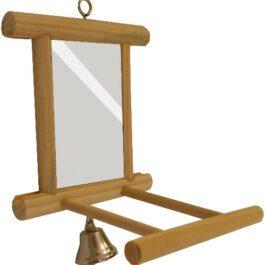 Houten spiegel + zitstok + bel